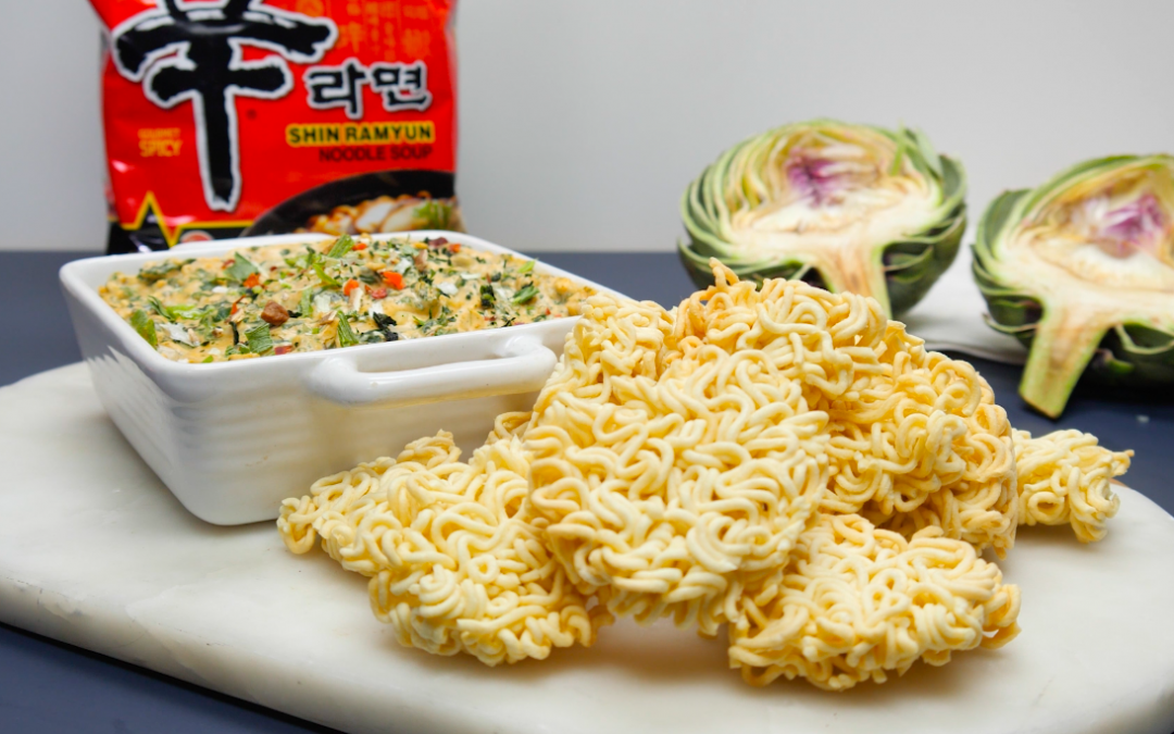 Spinach Artichoke Dip with Ramyun Chips